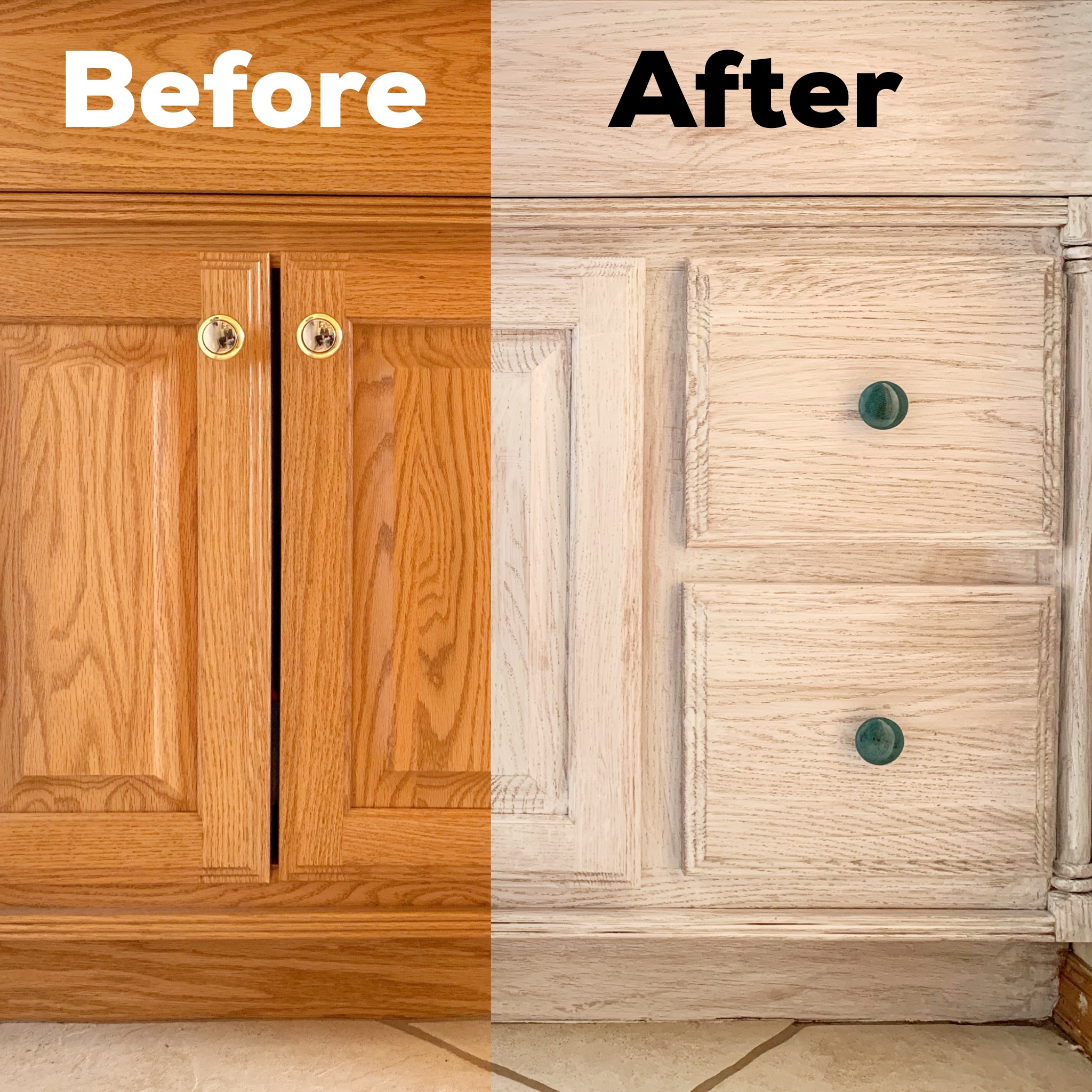 Before and after farmhouse vanity