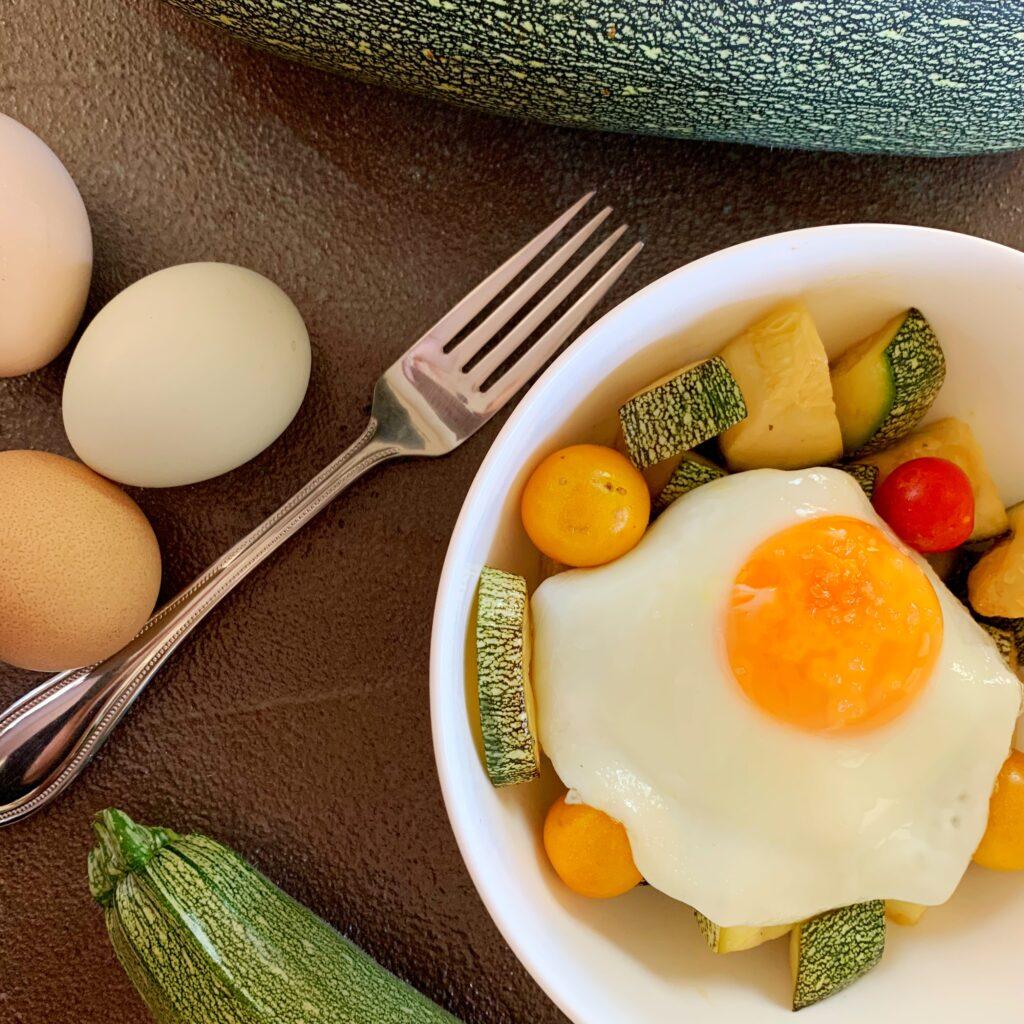 Zucchini egg hash squash